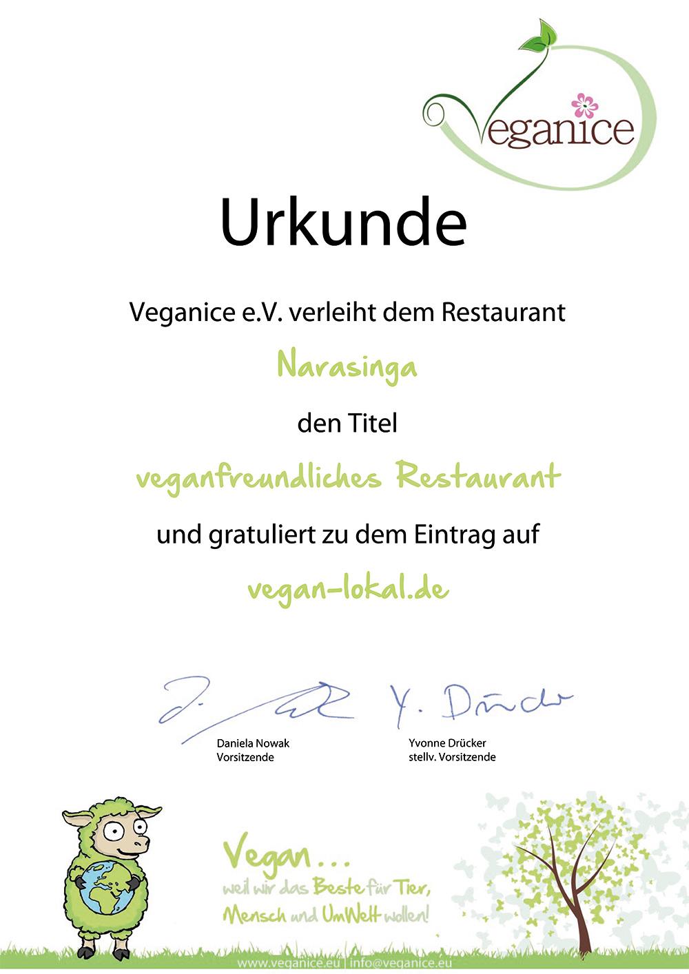 Veganice Urkunde für Narasinga