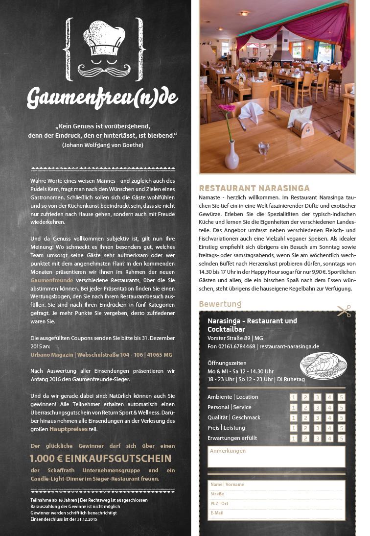 Urbano Gaumenfreunde 1000€ Gutschein gewinnen