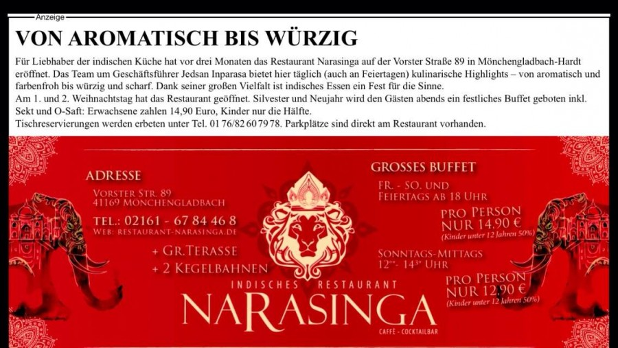 Von Aromatisch bis Würzig – Anzeige 2014